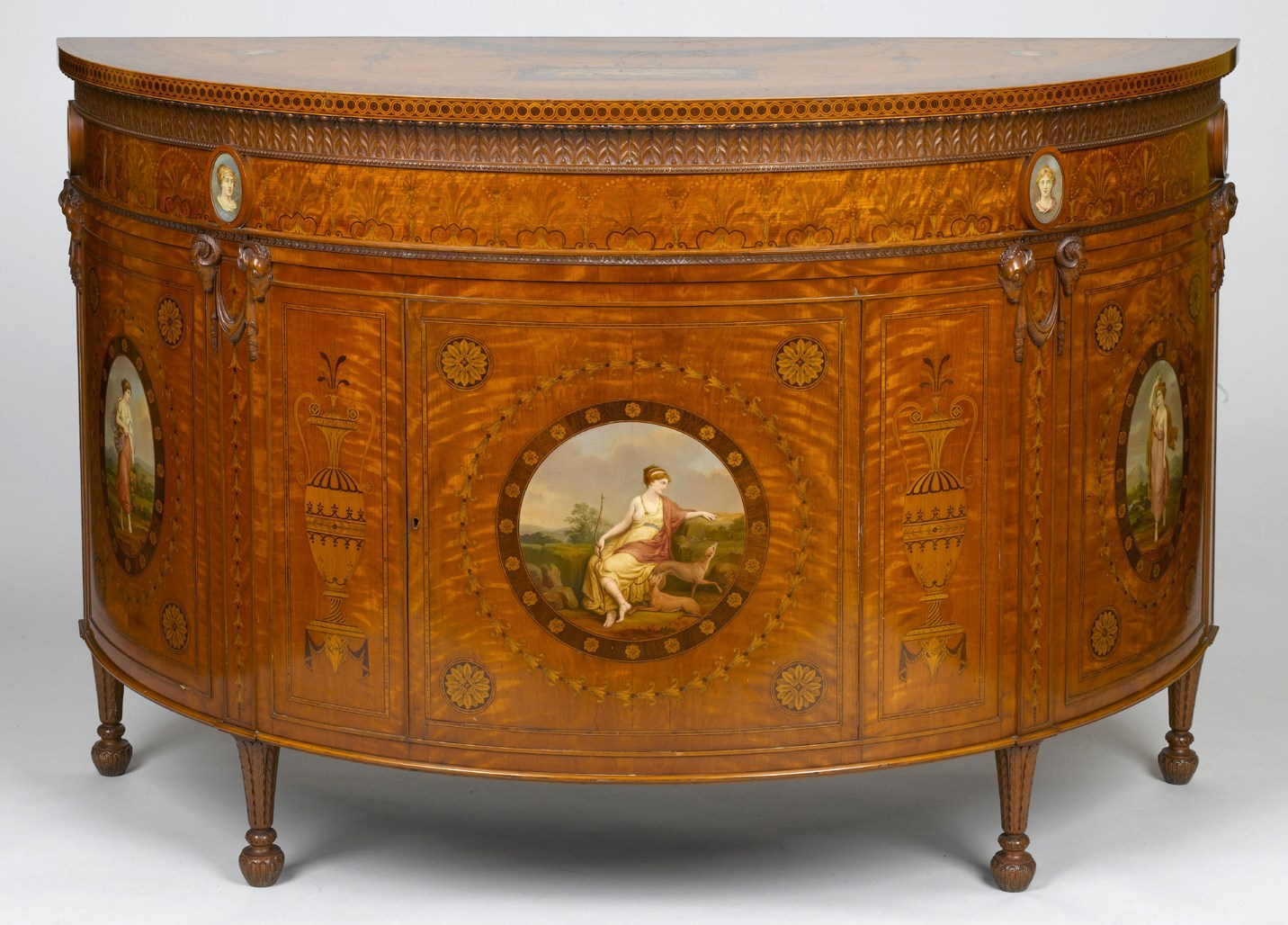 Painted Commode by Wright and Mansfield after a 1774 design of Robert Adam
