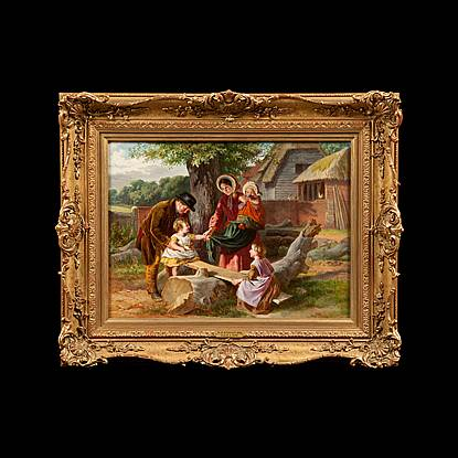 Antique Danish Impressionist Painting of a Young Woman